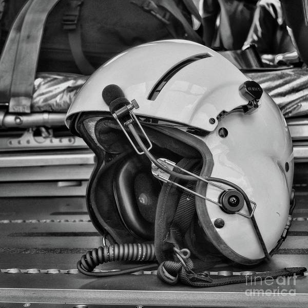 Wall Art - Photograph - Pilot Flight Helmet Square Format Black And White by Paul Ward