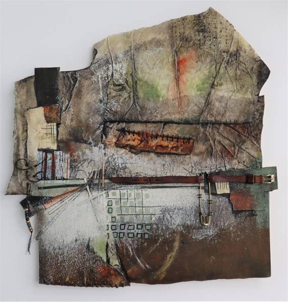 Wall Art - Mixed Media - Pin, Buckle, Stitches by Laura Lein-Svencner