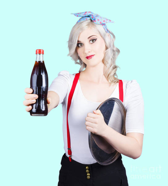 Headband Photograph - Pin-up Girl Holding Soft Drink Bottle by Jorgo Photography - Wall Art Gallery