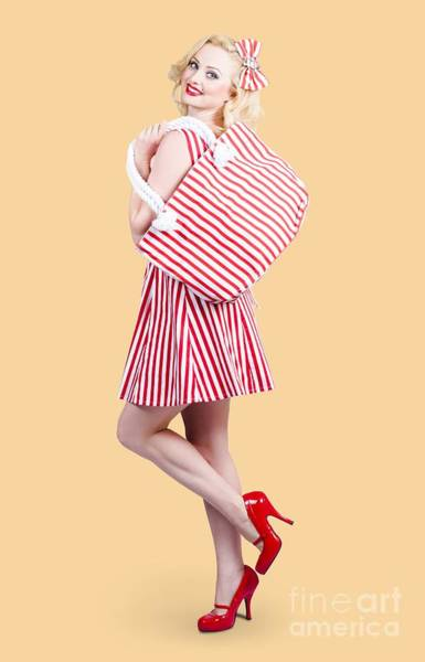 Headband Photograph - Pin Up Girl Wearing Stripped Red Dress Holding Bag by Jorgo Photography - Wall Art Gallery