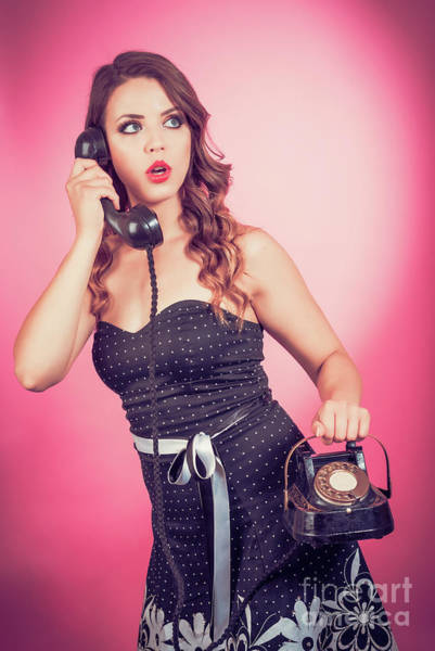 Wall Art - Photograph - Pin Up Girl With Phone by Amanda Elwell