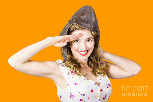 Wall Art - Photograph - Pin Up Lady Saluting In Fighter Pilot Cap by Jorgo Photography - Wall Art Gallery