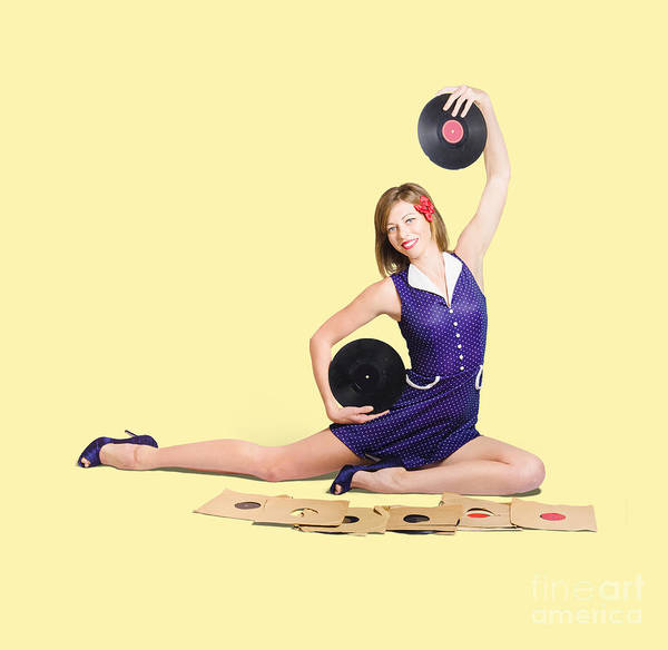 Jazz-funk Wall Art - Photograph - Pin-up Woman Balancing Sound With Record Music by Jorgo Photography - Wall Art Gallery