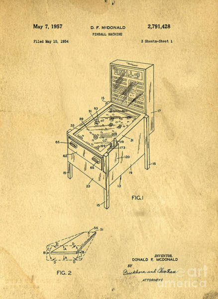 Wall Art - Photograph - Pinball Machine Patent 1954 by Edward Fielding