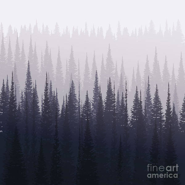 Pines Wall Art - Digital Art - Pine Forest In Winter. Nature Landscape by Kobsoft