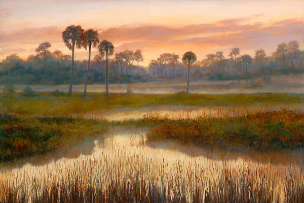 Lake Okeechobee Wall Art - Painting - Pine Glades Sunrise by Laurie Snow Hein