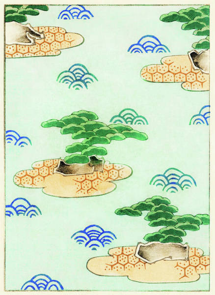 Wall Art - Painting - Pine Tree Japanese Style Gardens - Japanese Traditional Pattern Design by Watanabe Seitei