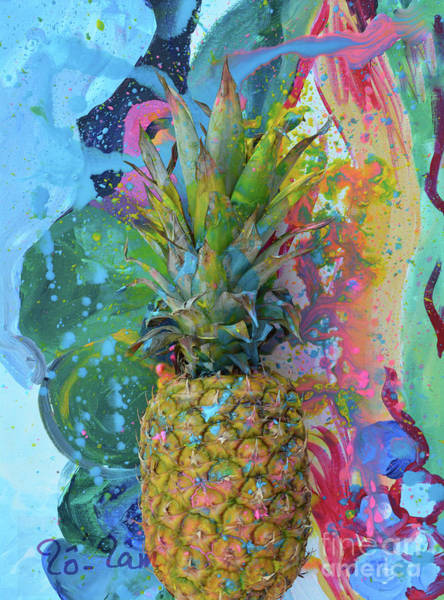 Spatter Mixed Media - Pineapple 2 by To-Tam Gerwe