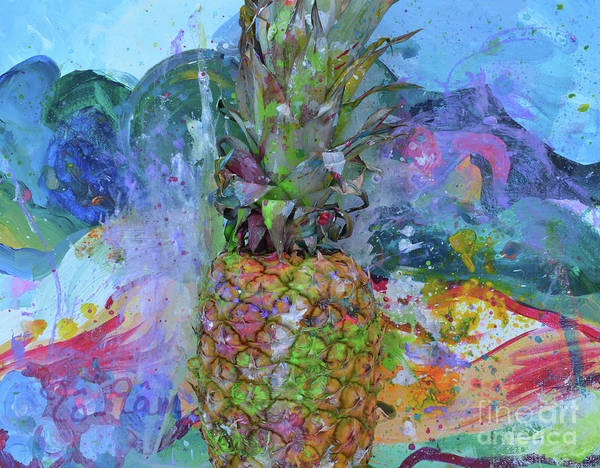 Spatter Mixed Media - Pineapple 3 by To-Tam Gerwe