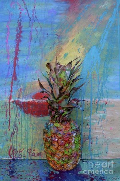 Spatter Mixed Media - Pineapple 7 by To-Tam Gerwe