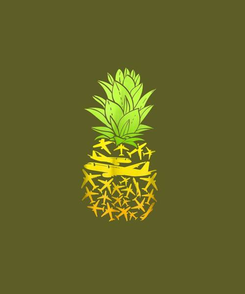 Pineapple Digital Art - Pineapple Airplane Funny T-shirt Summer Tropical Flying by Unique Tees