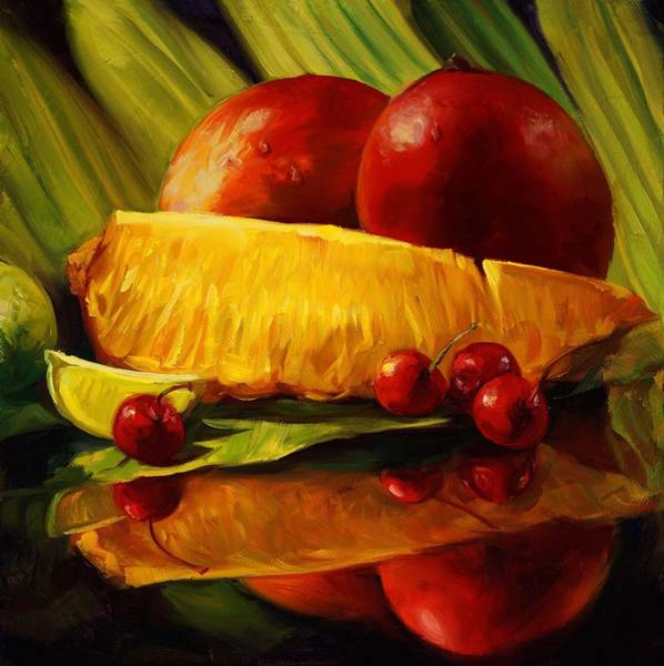 Wall Art - Painting - Pineapple And Cherries by Laurie Snow Hein