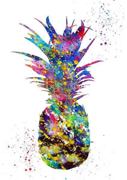 Pineapples Digital Art - Pineapple-colorful by Erzebet S
