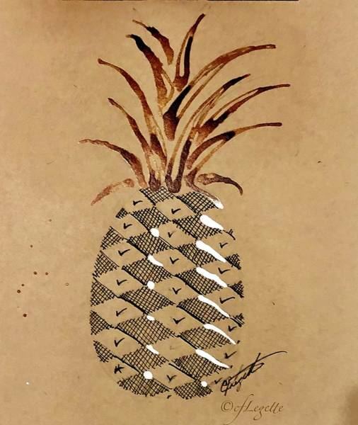 Pineapples Drawing - Pineapple Drawing by C F Legette