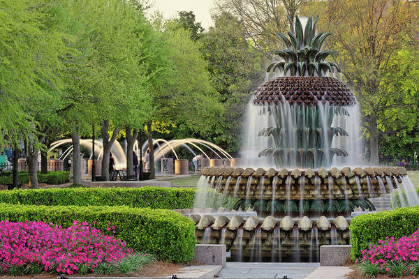 South Carolina Photograph - Pineapple Fountain At Sunset by Adam Jones