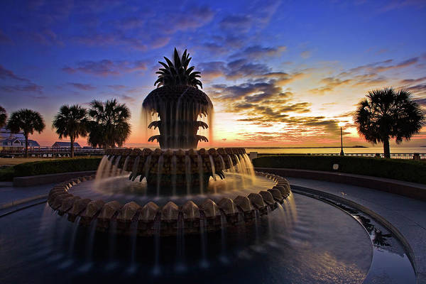 Horizontal Photograph - Pineapple Fountain In Charleston by Sam Antonio Photography