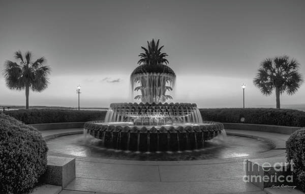Photograph - Pineapple Fountain Sunrise B W Waterfront Park Landscape Charleston South Carolina Art by Reid Callaway