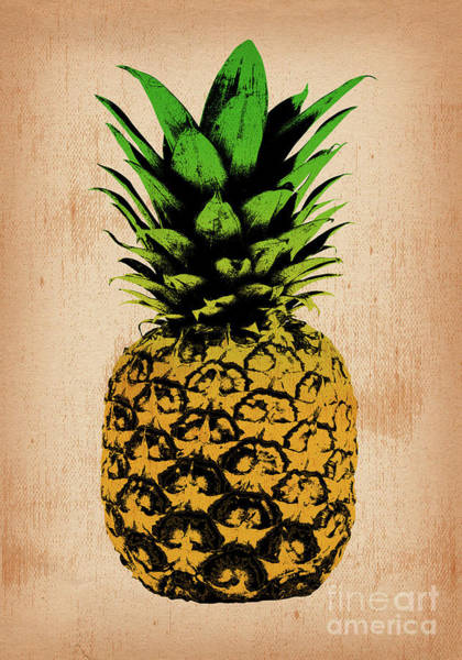 Pineapples Digital Art - Pineapple On Vintage Paper 03 by Bobbi Freelance