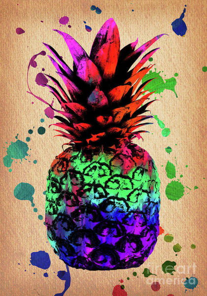 Pineapples Digital Art - Pineapple On Vintage Paper  by Bobbi Freelance