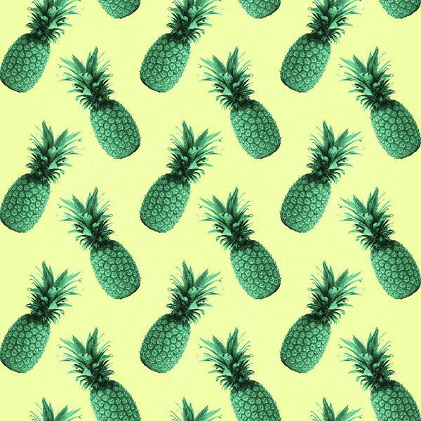 Bright Mixed Media - Pineapple Pattern - Tropical Pattern - Summer- Pineapple Wall Art - Blue, Beige - Minimal by Studio Grafiikka