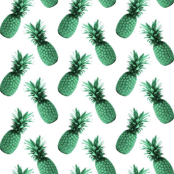 Bright Mixed Media - Pineapple Pattern - Tropical Pattern - Summer- Pineapple Wall Art - Blue, White - Minimal by Studio Grafiikka