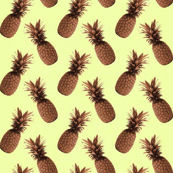 Bright Mixed Media - Pineapple Pattern - Tropical Pattern - Summer- Pineapple Wall Art - Brown, Beige - Minimal by Studio Grafiikka