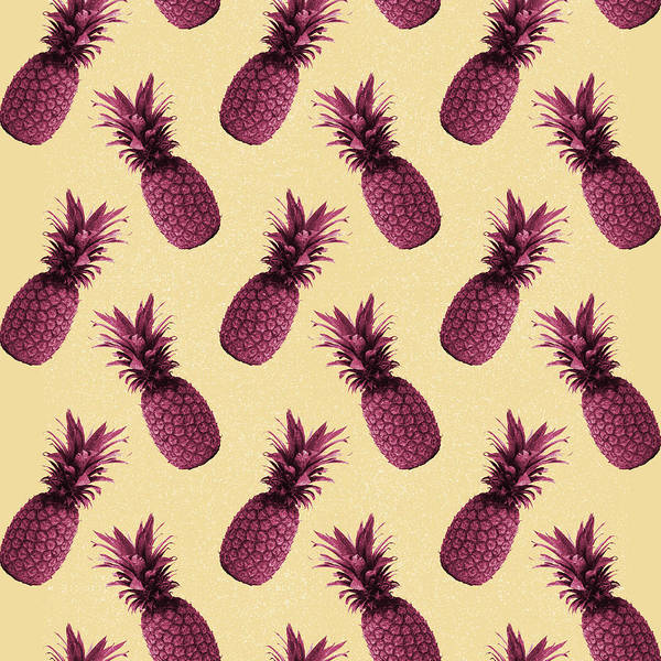 Bright Mixed Media - Pineapple Pattern - Tropical Pattern - Summer- Pineapple Wall Art - Purple, Beige - Minimal by Studio Grafiikka