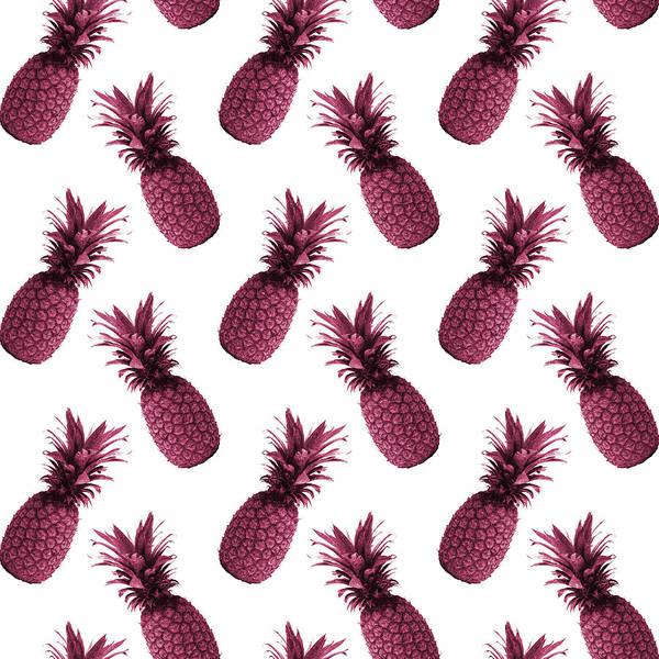 Bright Mixed Media - Pineapple Pattern - Tropical Pattern - Summer- Pineapple Wall Art - Purple, White - Minimal by Studio Grafiikka