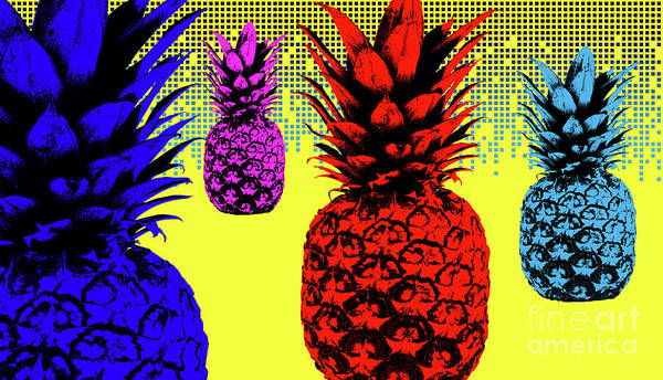 Pineapples Digital Art - Pineapple Popart 01 by Bobbi Freelance