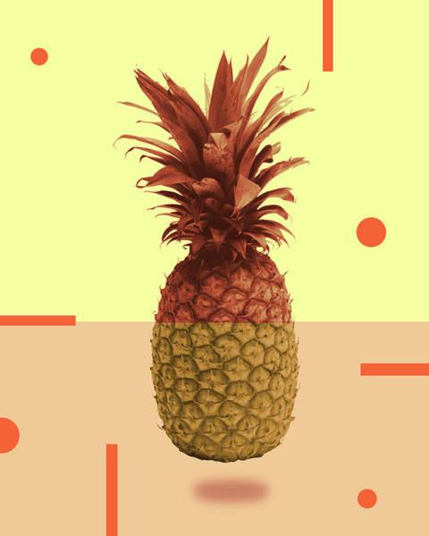 Bright Mixed Media - Pineapple Print - Tropical Decor - Botanical Print - Pineapple Wall Art - Beige, Peach - Minimal by Studio Grafiikka