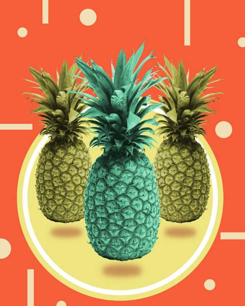 Bright Mixed Media - Pineapple Print - Tropical Decor - Botanical Print - Pineapple Wall Art - Orange, Blue - Minimal by Studio Grafiikka