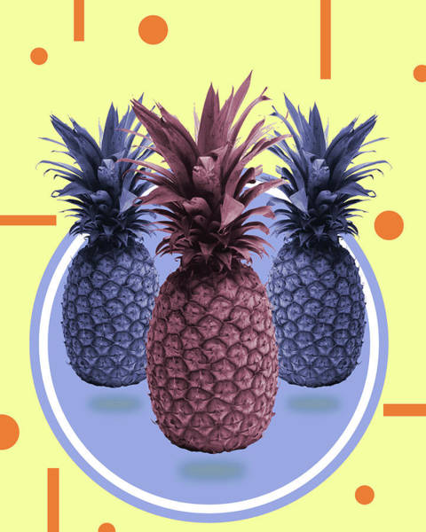 Bright Mixed Media - Pineapple Print - Tropical Decor - Botanical Print - Pineapple Wall Art - Yellow, Blue - Minimal by Studio Grafiikka