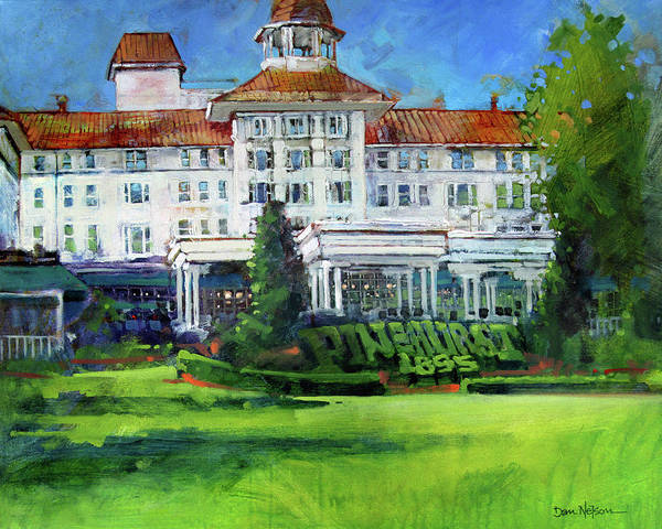 Country Club Painting - Pinehurst Clubhouse by Dan Nelson