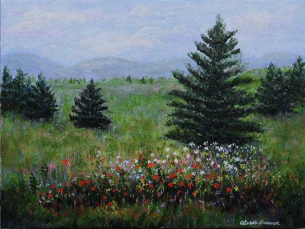 Painting - Pines And Wildflowers by Alexis Baranek