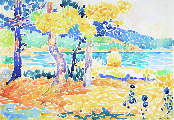 Wall Art - Painting - Pines On The Coastline - Digital Remastered Edition by Henri Edmond Cross