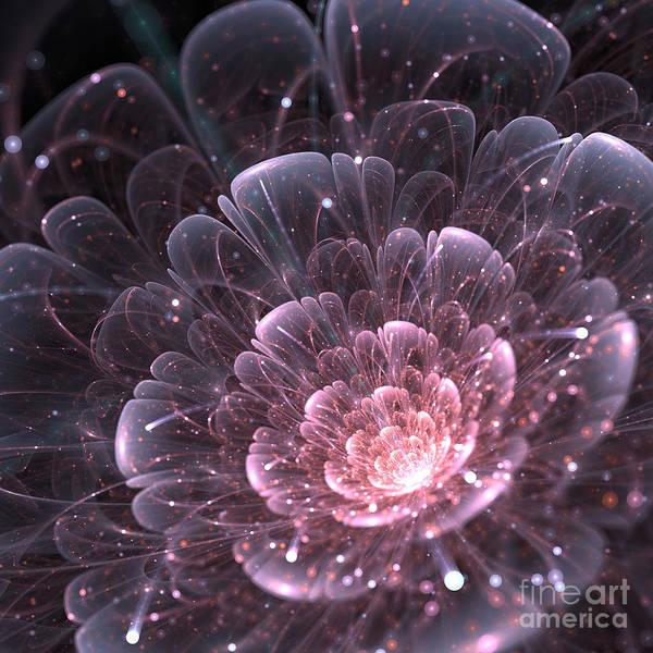 Petal Wall Art - Digital Art - Pink Abstract Flower With Sparkles On by Anikakodydkova