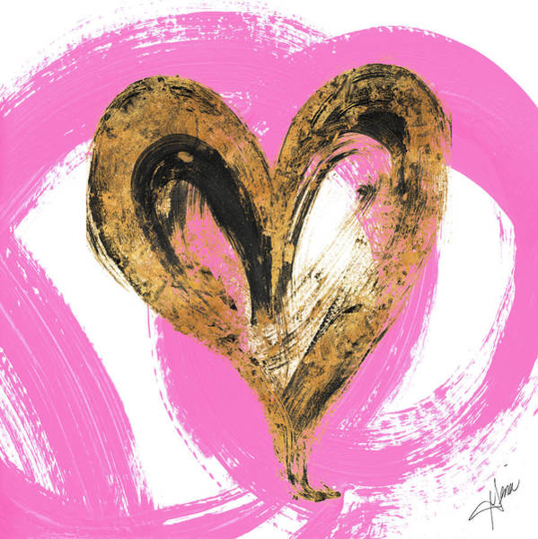 Heart Gold Painting - Pink And Gold Heart Strokes I by Gina Ritter