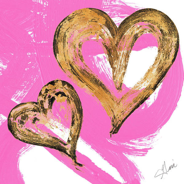 Heart Gold Painting - Pink And Gold Heart Strokes II by Gina Ritter