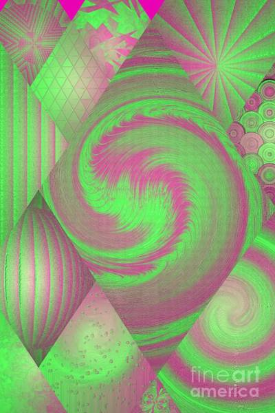 Digital Art - Pink And Green Modern Collage by Rachel Hannah