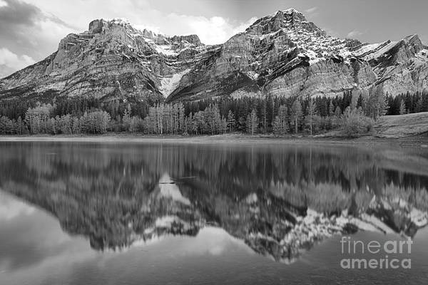 Photograph - Pink And Red Kananaskis Reflections Black And White by Adam Jewell