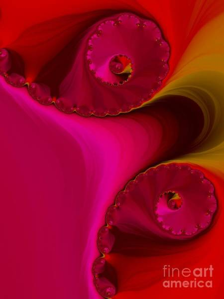 Digital Art - Pink And Red Lava Flows Spirals Fractal Abstract by Rose Santuci-Sofranko