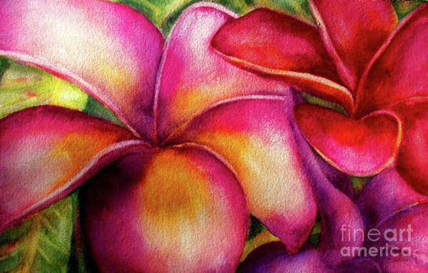 Painting - Pink And Red Plumerias by Carolyn Jarvis