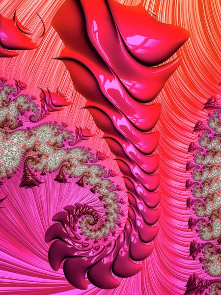Wall Art - Digital Art - Pink And Red Trippy Fractal Spiral by Matthias Hauser
