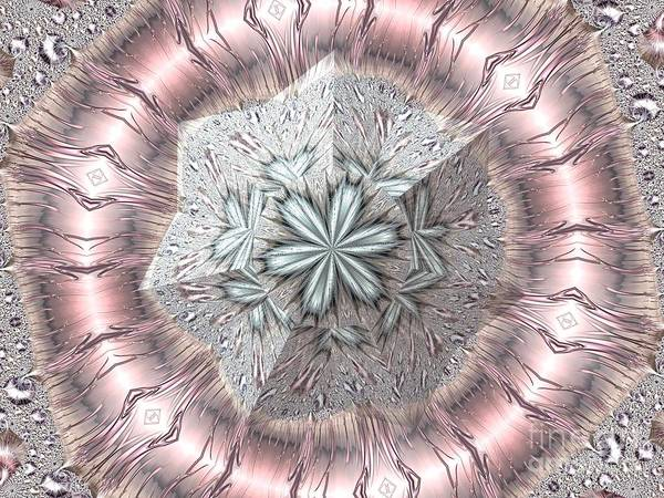 Digital Art - Pink And White Diamond Tiara Fractal Abstract by Rose Santuci-Sofranko
