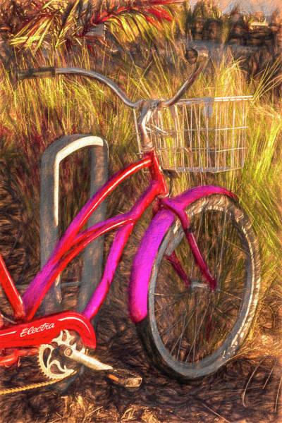 Photograph - Pink Beach Bike Painting by Debra and Dave Vanderlaan