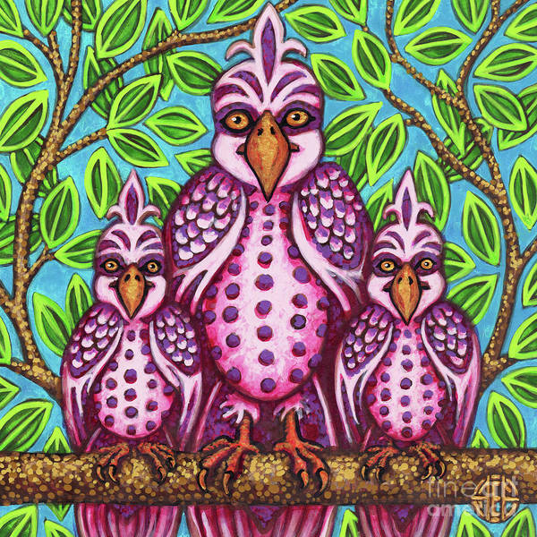 Painting - Pink Bird Trio by Amy E Fraser