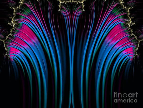 Digital Art - Pink Blue And Gold Fireworks Fractal Abstract by Rose Santuci-Sofranko