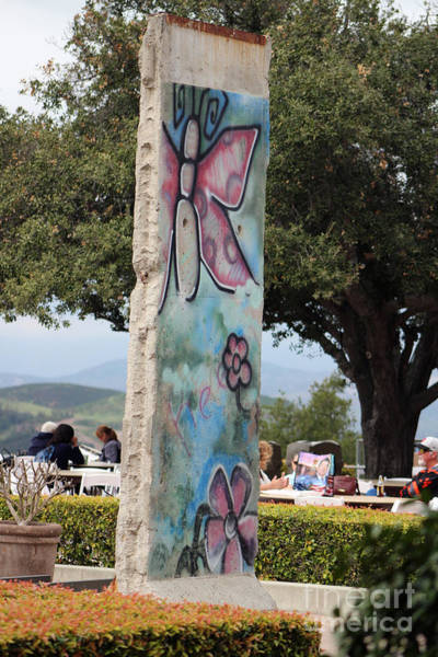 Photograph - Pink Butterfly Graffiti On Piece Of Berlin Wall At Reagan Library by Colleen Cornelius