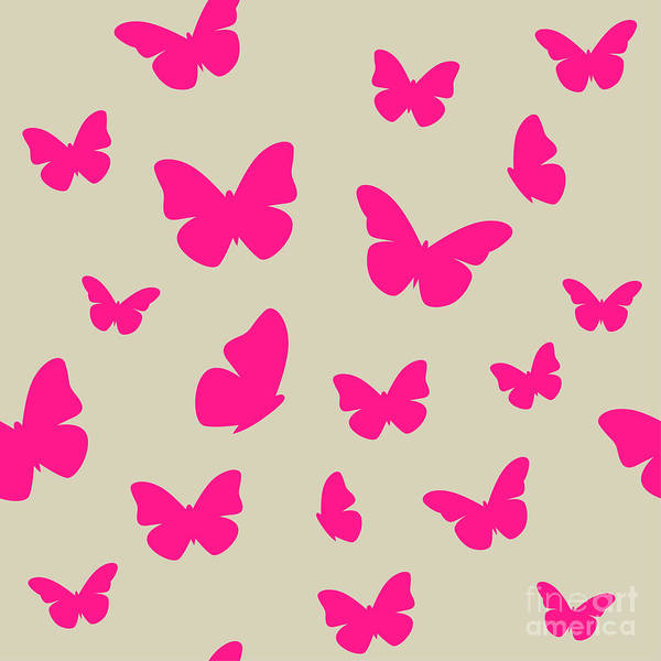 Wall Art - Digital Art - Pink Butterfly On Beige Background by Magnia