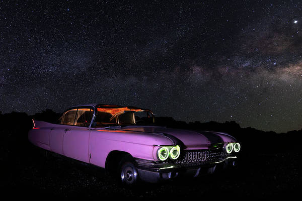 Photograph - Pink Cadillac In The Desert Under The Milky Way by James Sage